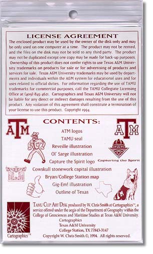 TAMU Clip Art Disk - back packaging design