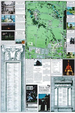 Texas Am Campus Map.The Texas A M University Campus Map With Points Of Interest By W