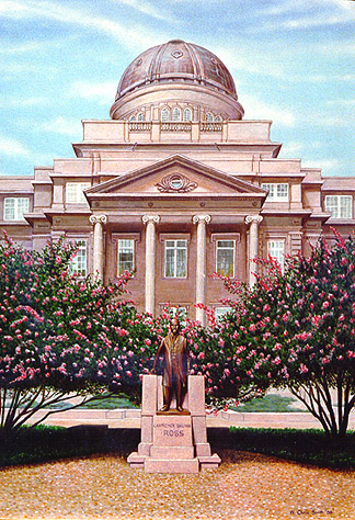 """Sully"" - Painting of Lawrence Sullivan Ross Statue on the Texas A&M University Campus by Chris Silver Smith. Copyright 2009."