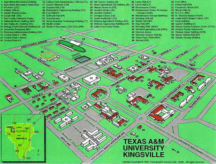 Tamuk Campus Map TAMU Kingsville Campus Map by Chris Silver Smith Tamuk Campus Map